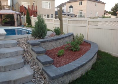 armour stone retaining wall pool right
