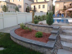 armour stone retaining wall pool left