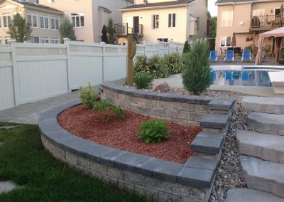 armour stone retaining wall pool left