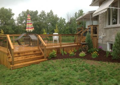 backyard red deck