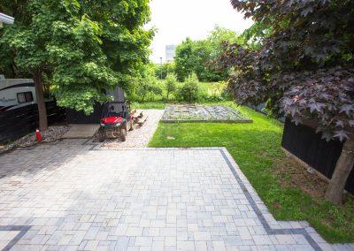 backyard large interlock patio