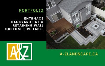 Backyard Landscape With Fire Table | Portfolio | A&Z Interlock